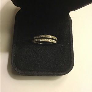 Set of 14k White Gold Bands with Pave Diamonds.